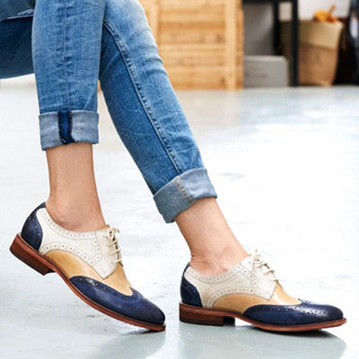 Color Block Lace-Up Hollow Chunky Heel Point Toe Leather Fashion Loafers