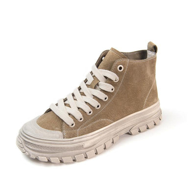 New autumn and winter round toe leather platform mid-top canvas shoes increase trend women's shoes