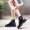 2019 autumn and winter new matte leather front zipper low heel flat Martin boots booties