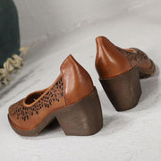 Vintage Hollow Patchwork Chunky Heel Point Toe Slip-On Leather Sandals