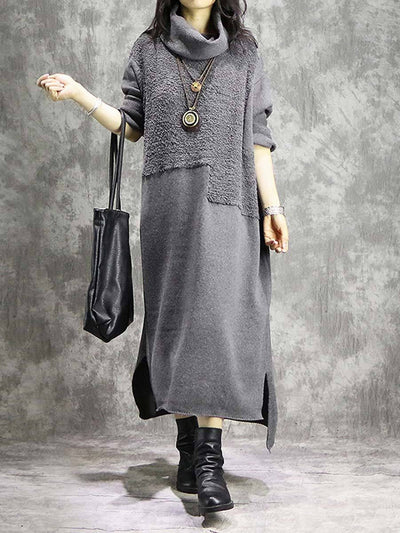 Knitted High Neck Long Sleeve Thick Split Loose Asymmetric Maxi Dresses