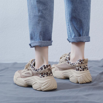 2020 summer new breathable mesh leopard ladies casual sneakers