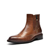 New autumn and winter leather color British thick with retro fashion women's boots