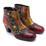 Flower Design Color Block Beads Zipper Ankle Boots