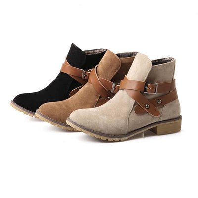 Women's boots new winter casual England style plus velvet thick heel ankle boots Martin boots