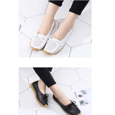 Leather comfortable soft bottom hollow flat casual shoes
