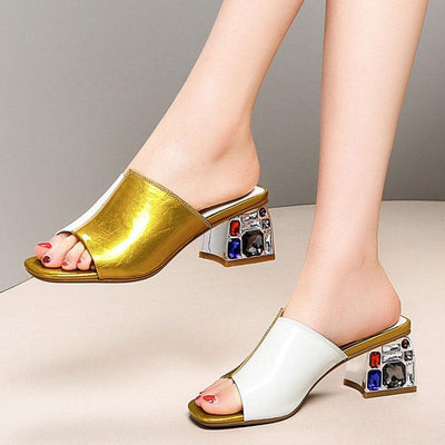 Fashion Color Block Slip-On Rhinestone Leather Sandals