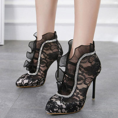 Lace See-Through Ruffle Point Toe Stiletto Heel Ankle Sandals
