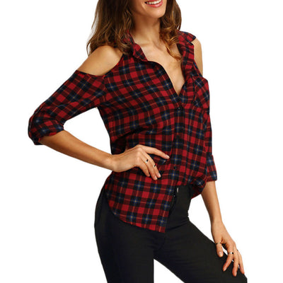 European and American Plaid Print Off-Shoulder Lapel Long Sleeve Shirt