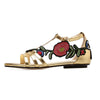 Embroidered rose flat sandals
