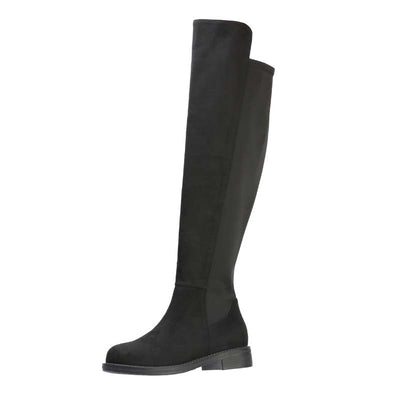 2019 autumn and winter new fashion casual flat with side zipper was thin elastic over the knee boots