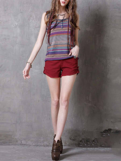 Stripes Buttons Round Neck Sleeveless Cotton Pullover Tanks & Crops