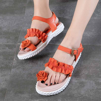 3D Flower Ruffle Hollow Ankle Strap Thong Leather Buckle Sandals