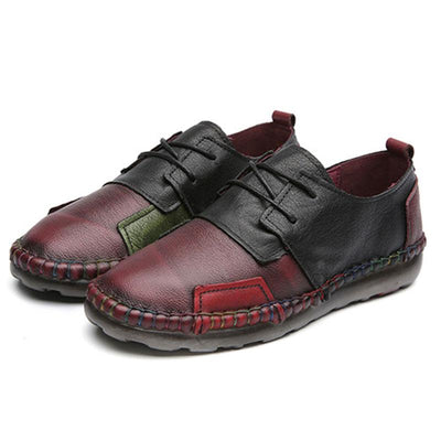 Hand-Made Patchwork Lace-Up Leather Flat Heel Loafers