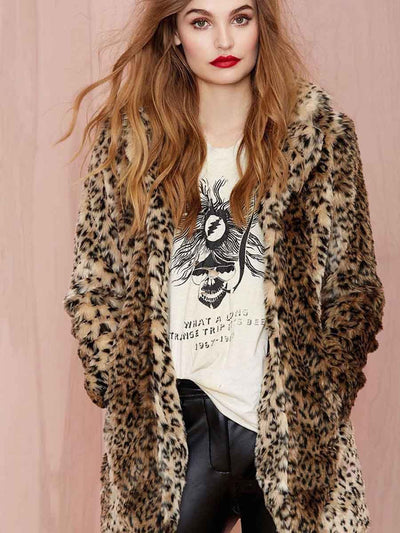 2019 new fur coat ladies faux fur European and American leopard sexy furry wild imitation fur coat