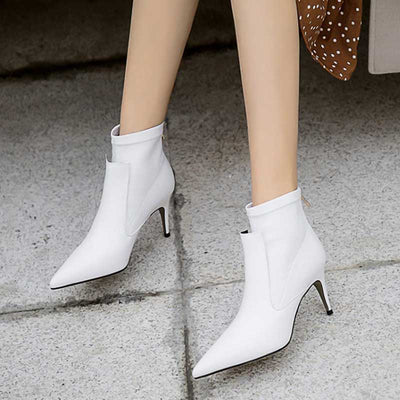 Pointed stretch female high heel boots