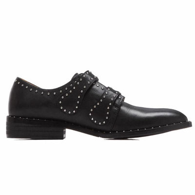 British Beads Rivets Buckle Point Toe Low Heel Leather Loafers