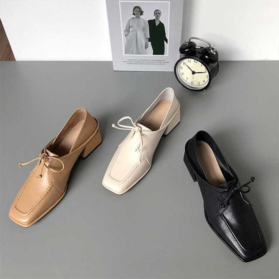 Stitching solid color leather lace-up versatile shoes