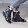 2019 autumn and winter new leather retro with round head boots thick with leather ankle boots