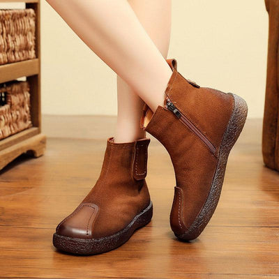 Casual Patchwork Slip-On Leather Cowhell Ankle Boots