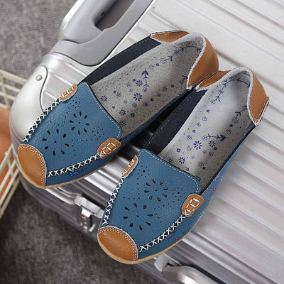 Flat bottom comfortable leather printed peas shoes