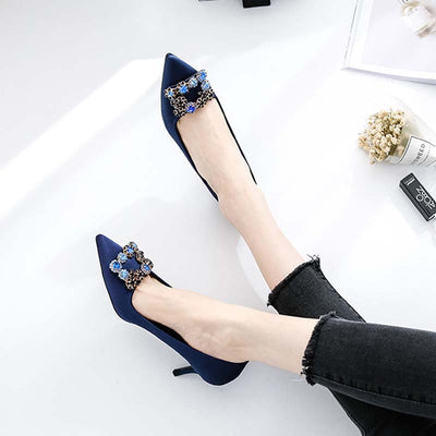 Square buckle rhinestone bridesmaid pointed single shoes