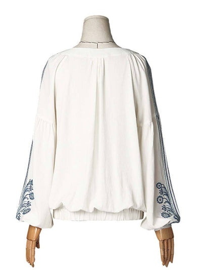 Vintage Solid Color Ruffle Long Sleeve Round Neck Embroidery Blouses