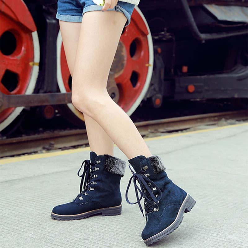 Winter new low-heeled front tie casual warm women's boots