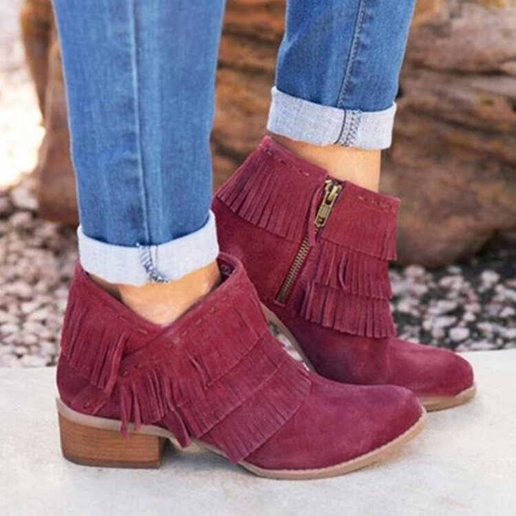 European and American new women's short boots large size low-heeled fringed boots Chelsea boots