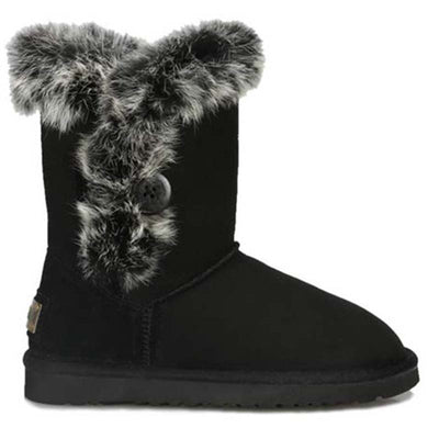 New real leather black button in the tube snow boots