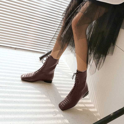 British style retro lace-up flat boots