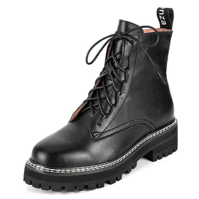 2019 autumn and winter Martin boots female breathable handsome thick-soled tooling black British fan car booties 02