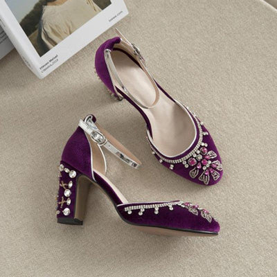 Vintage Solid Color High Heels Rhinestone Velvet Sandals
