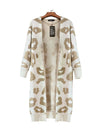 Autumn and winter new sweater leopard loose loose long coat sweater