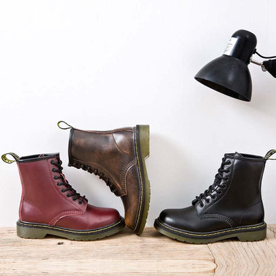 Solid color leather eight-hole thick heel lace retro Martin boots
