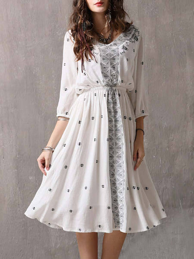 Sweet V-Neck Embroidery A-Line Pleated Big Hem Linen & Cotton Dresses