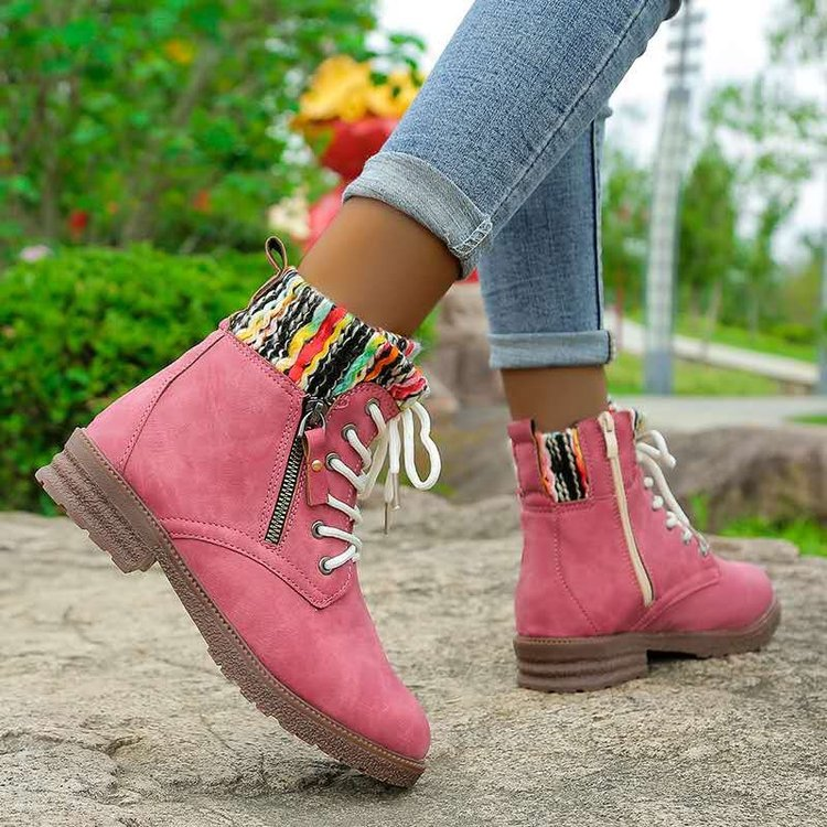 Autumn and winter new style color woolen fashion Martin boots side zipper Chelsea women's short boots