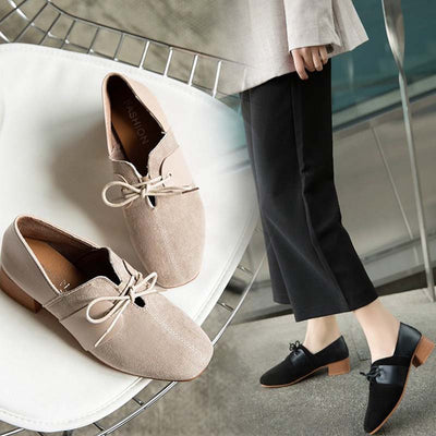 Thick and suede versatile square head women's shoes