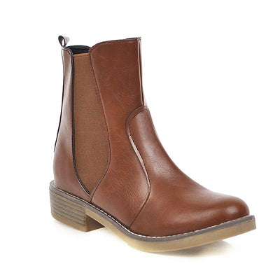 New retro simple thick heel round head waterproof Martin boots