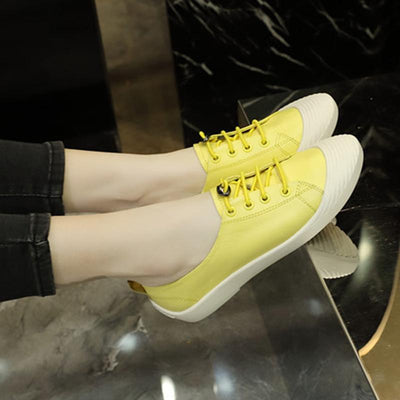 Casual Color Block Round Toe Lace-Up Flat Heel Slip-On Loafers