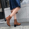 Suede thick heel side zip large size locomotive Martin boots female