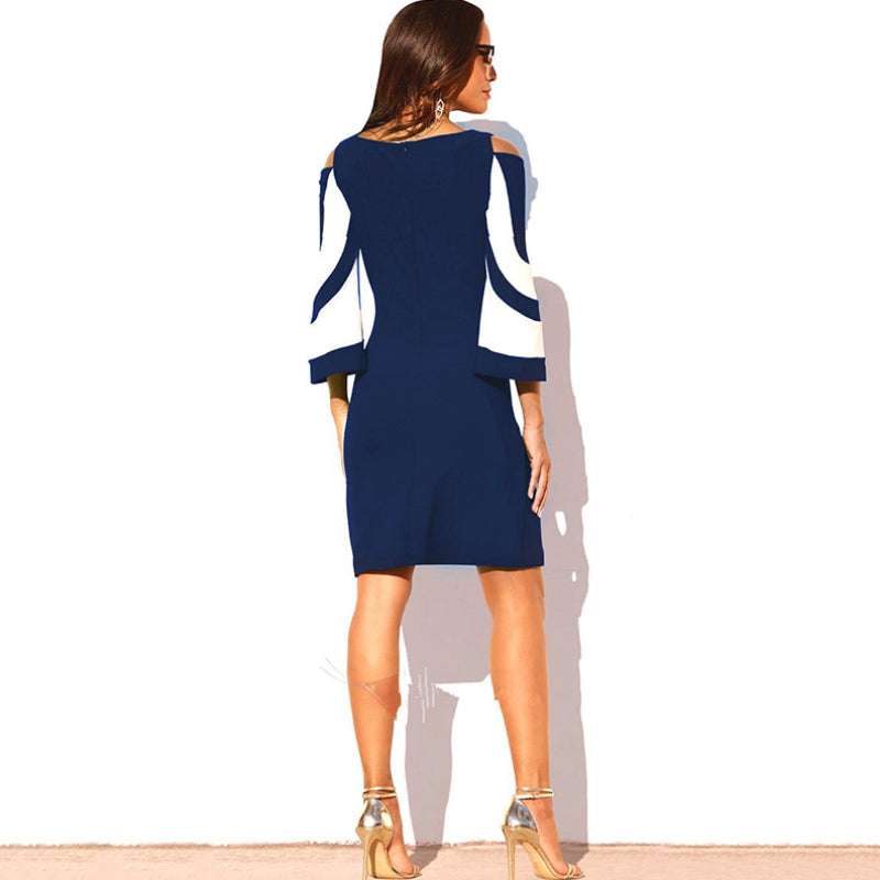 2019 hot sale new European and American color matching off-the-shoulder fashion dress