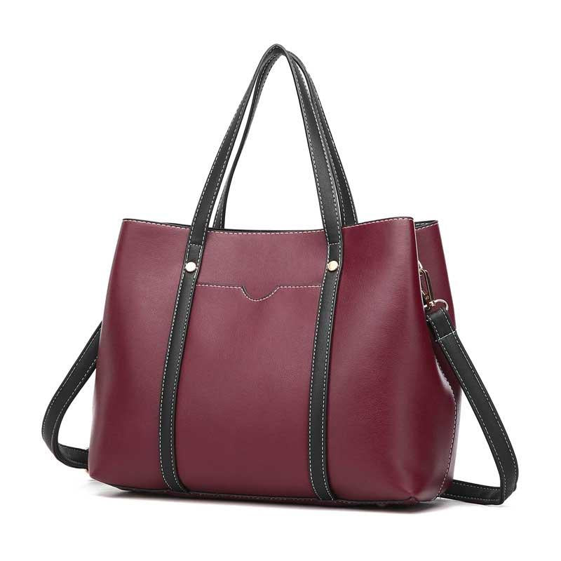 2020 new fashion PU leather solid color casual suit women's handbag