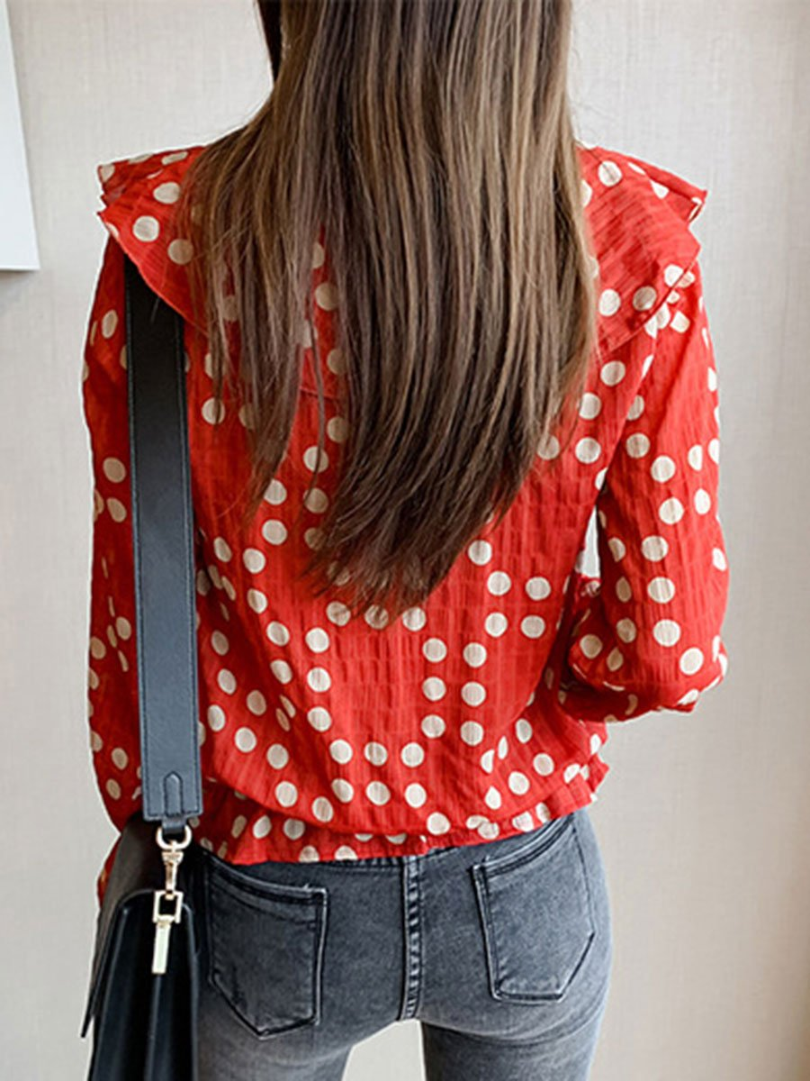 Sweet Polka Dot Ruffle Long Sleeve Loose V-Neck Blouses