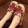 Breathable straw small floral cotton linen shallow mouth fisherman shoes