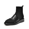 New platform stitching leather fashion wedge heel boots