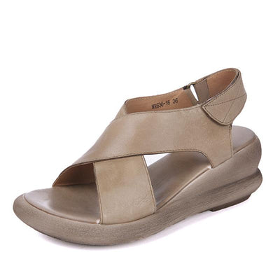 Casual Cross Leather Velcro Hollow Peep Toe Soft Flat Heel Sandals