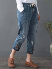 Plus Size Lace-Up Tight Pocket Embroidery Hole Mid-Calf Jeans
