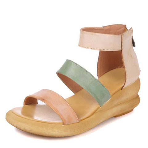 Leather Hollow Ankle Strap Back Zipper Open Toe Elevator Sandals