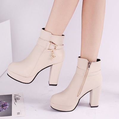 Comfortable thick zipper platform booties
